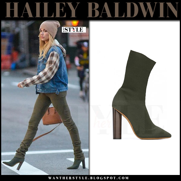 Hailey Baldwin in khaki green ankle boots yeezy what she wore streetstyle