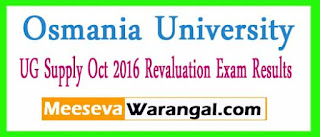 Osmania University UG Supply Oct 2016 Revaluation Exam Results