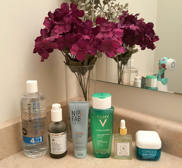 Vichy Double Glow Peel Mask, Vichy Pore Purify Clay Mask, Nip & Fab Glycolic Fix Night Pads Extreme, Indie Lee- Blemish Stick, Jouviance - Micelle Solution, The Body Deli - Sage & Grapefruit cleanser, Nip & Fab - Glycolic Scrub Fix, Vichy - Normaderm Purifying Lotion, Poetic Blend - The Hero Oil, Clinique - Pep- start hydroblur moisturizer,  canadian beauty blogger, beauty blogger, skincare, toronto blogger, toronto, canada, pimple care, problem skin solution,