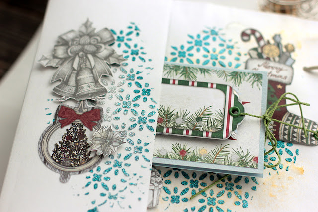 Mixed Media Mini Album by Elena Olinevich using BoBunny Tis The Season Collection