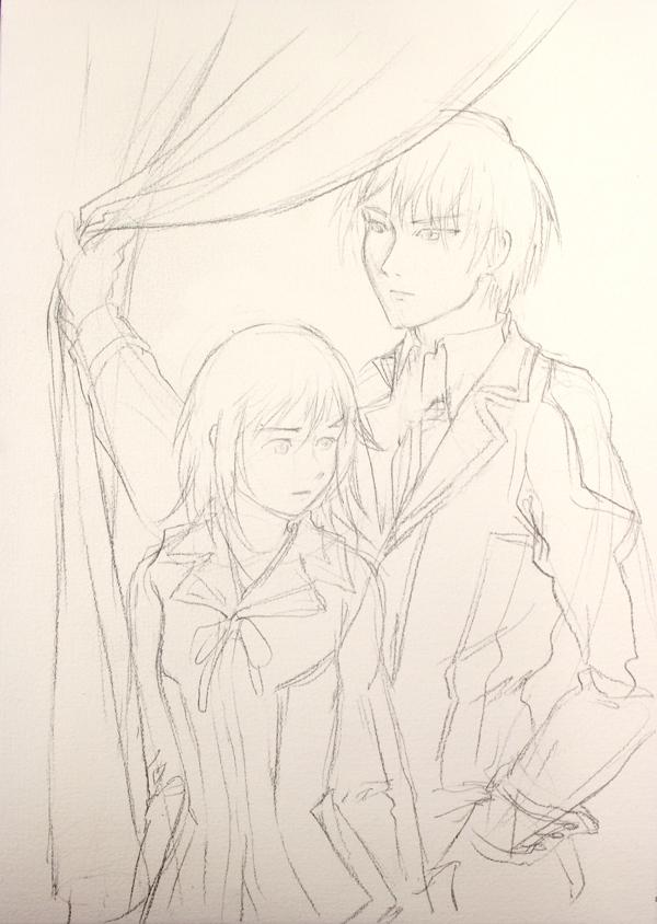 Yuri et Zero de Vampire Knight : crayonné