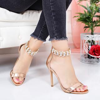Sandale Masicoli aurii cu toc inalt de ocazii cu strasuri