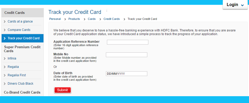 HDFC Credit Card Status : Easy way to Track HDFC Credit Card application Status online www ...