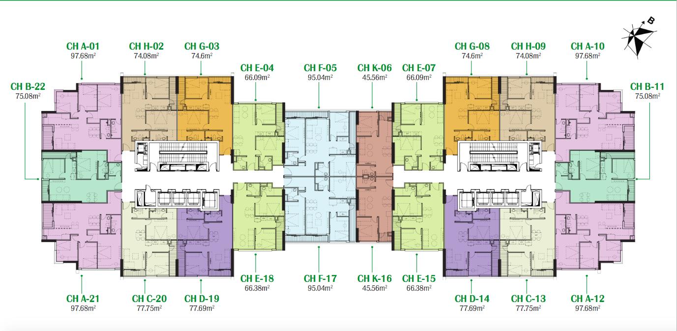 Mặt bằng căn hộ chung cư Eco Dream