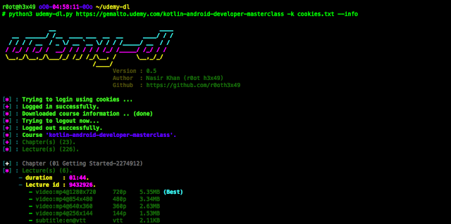 f9ad2b2a9 ... الاوامر سواء Terminal او CMD في وسط المشروع، ثم قم بتشغيل البرنامج عن  طريق سطر : python udemy-dl.py URL، بتعويض الـ URL برابط الكورس الذي تريد  تحميله .