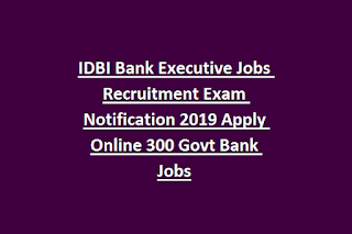 IDBI Bank Executive Jobs Recruitment Exam Notification 2019 Apply Online 300 Govt Bank Jobs