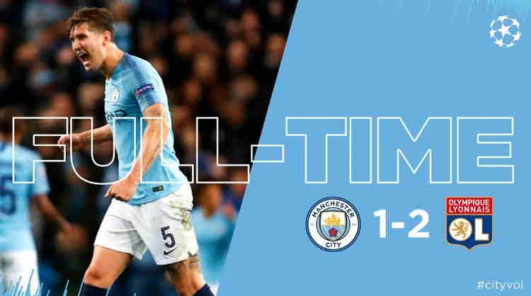 Hasil Manchester City vs Lyon Skor Akhir 1-2