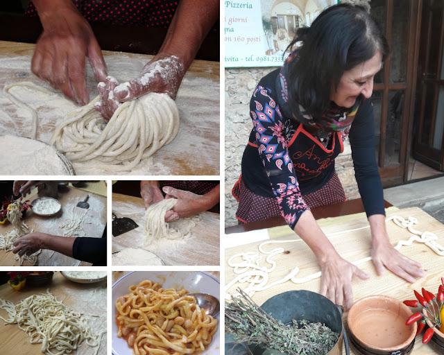 La pasta fresca, le striglie, preparate da Anna Stratigò a Civita