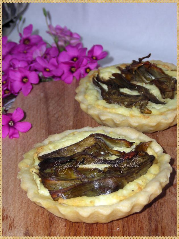 Tartellette con ricotta e carciofi, particolare