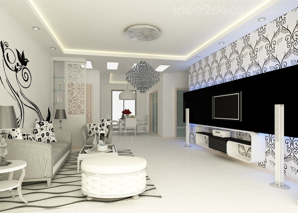 Diseño sala blanco y negro