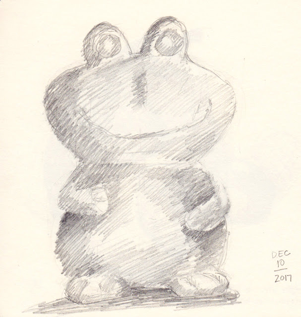 Daily Art 12-10-17 still life sketch in graphite number 64 - ceramic frog