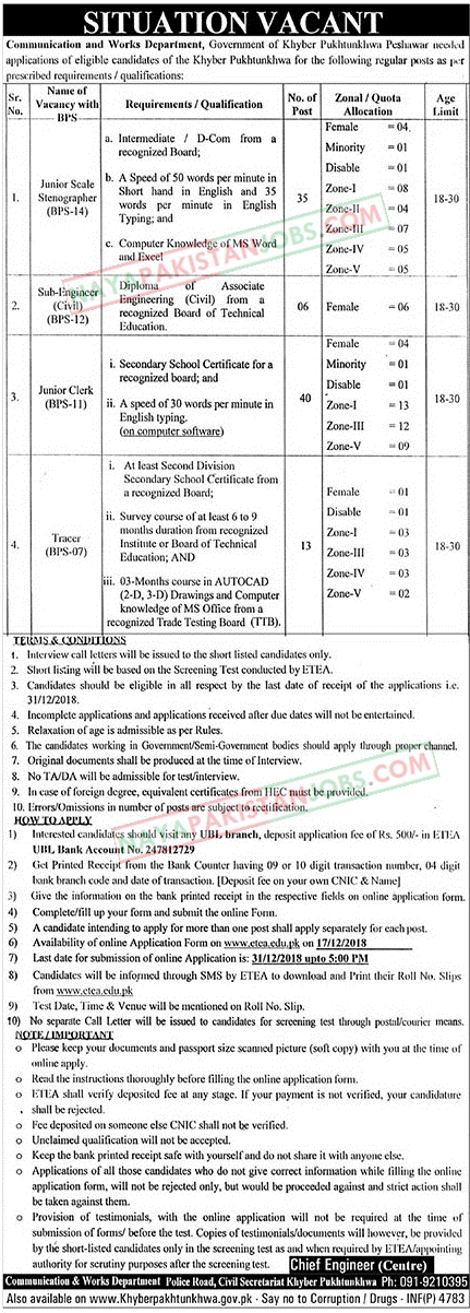 Latest Vacancies Announced in Communication And Works Department Government of KPK 18 December 2018 - Naya Pakistan Jobs
