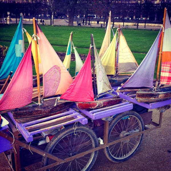 Sailing boats by the fountain in Jardin des Tuileries in Paris