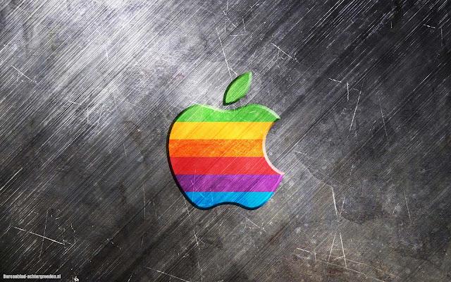 IJzer metalen Apple achtergrond met gekleurde 3D Apple logo