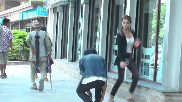 Nepali Prank - Tieing Shoe Lace Prank