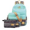 Leaper Casual Style Lightweight Canvas Laptop Bag Cute School Backpack Shoulder Bag Pencil Case 3PCS Set (Water Blue)