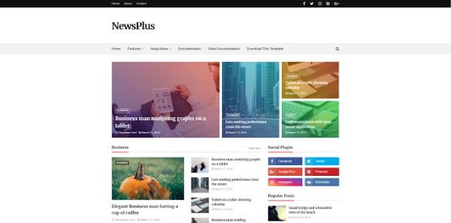 Newsplus blogger template 2018