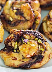 Valrhona Chocolate & Pistachio Babka Buns w/ Maldon Salt Flakes and Lemon Zest (GF)