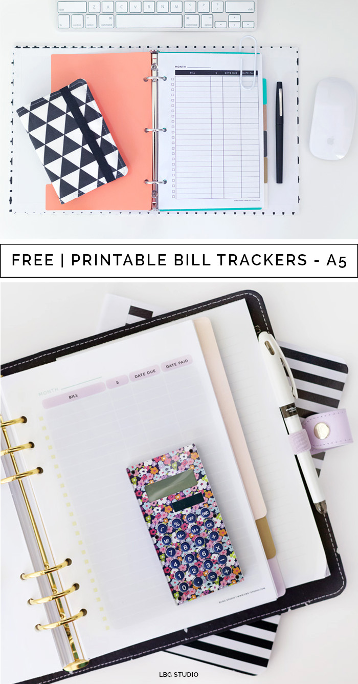 free printable bill tracker for a5 planners in 3 styles lbg studio