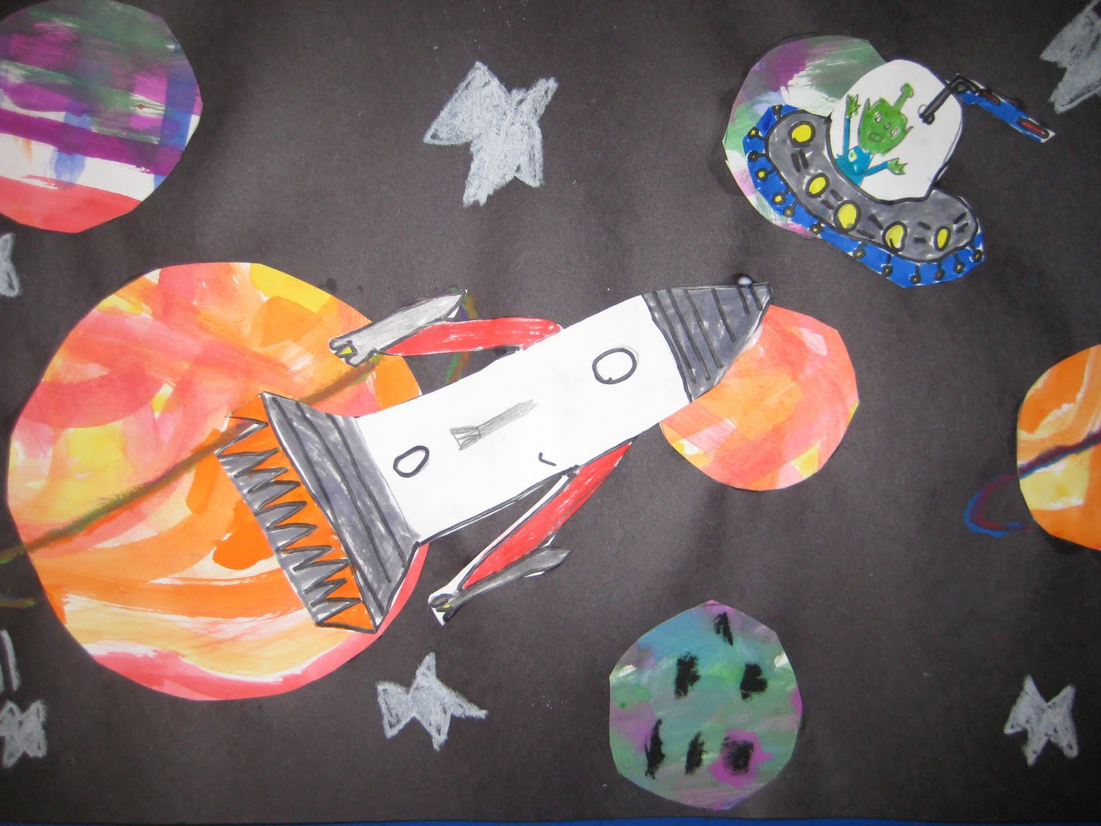 Why Walk When You Can Fly First Grade Outer Space Collage