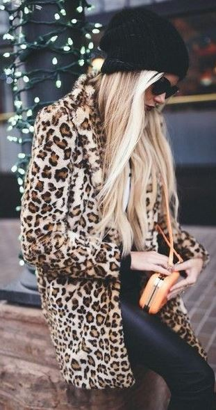 simple fall outfit / knit hat + animal printed coat + bag + sweater + leather skinnies