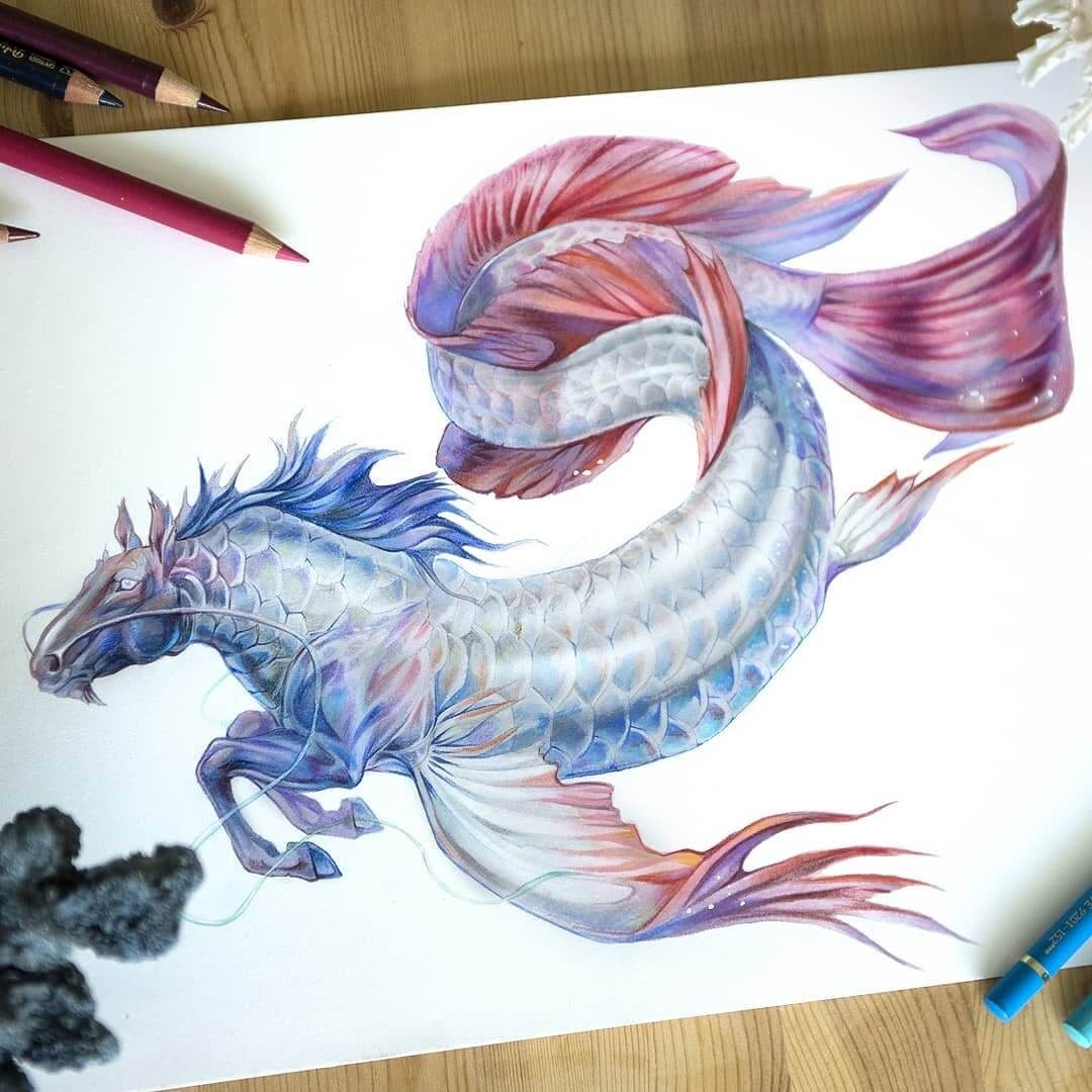 10-Horse-Fish-Grace-Fantasy-Animals-Colored-Pencils-Drawings-www-designstack-co