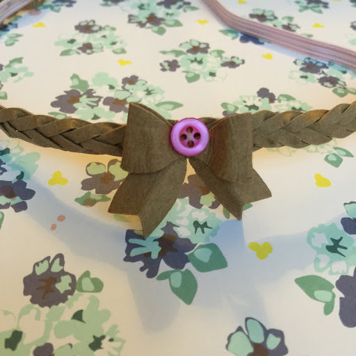 Mystery Braid Hairband with Button Bow and Pink Elastic by Nadine Muir for UK Silhouette Blog