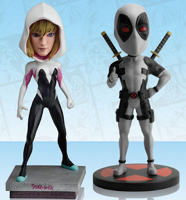 "San Diego Comic-Con 2016 Exclusive ""Unmasked"" Spider-Gwen & ""X-Force"" Deadpool Marvel Head Knocker Bobble Heads by NECA"