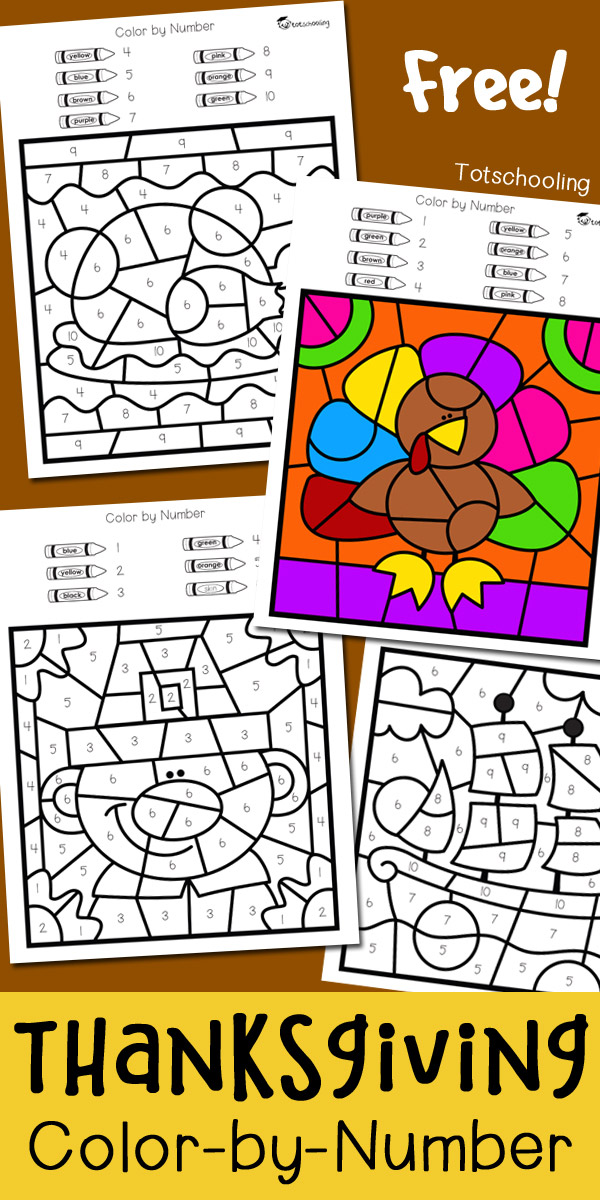 Thanksgiving Color By Number Totschooling Toddler Preschool Kindergarten Educational Printables