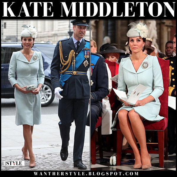 Kate Middleton in pale blue coat dress alexander mcqueen and beige pumps raf celebrations elegant style july 10
