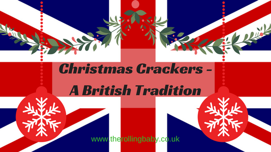 christmas crackers a british tradition union jack flag red hanging baubles and a hanging wreath of holly - British Christmas Crackers