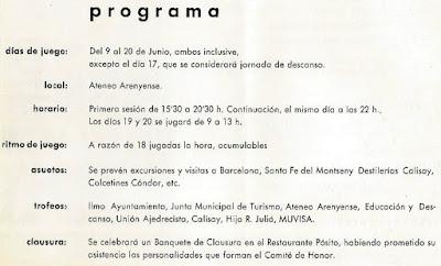 Programa de actos del IX Campeonato de España Femenino 1965