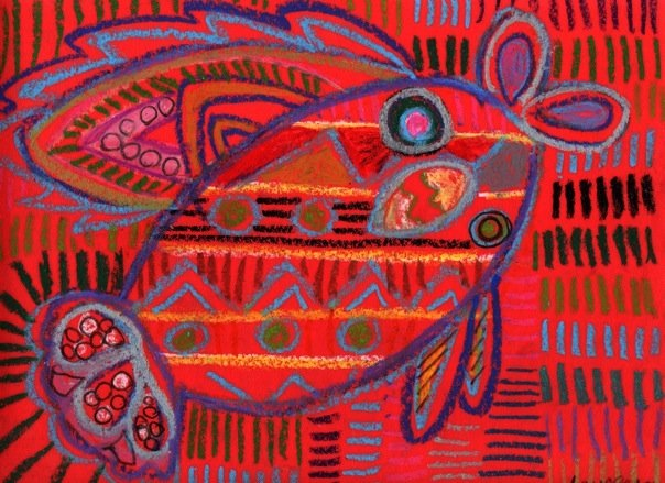 Literrata: Mola inspired drawings, oil pastel (art)