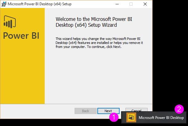 Pantalla inicial de instalación Power BI Desktop