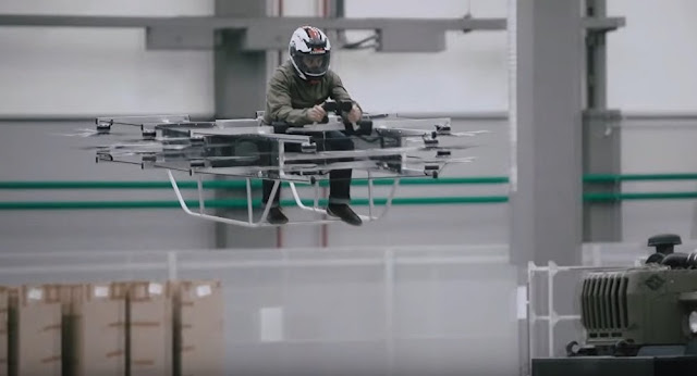 This is what happens when Kalashnikov (the AK-47) thinks of motorcycles: flying, electric and with 16 rotors