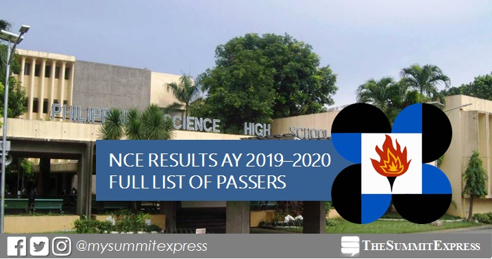 LIST OF PASSERS: 2018 PSHS NCE Results for AY 2019-2020