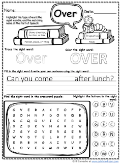 Free Sight Words worksheets!