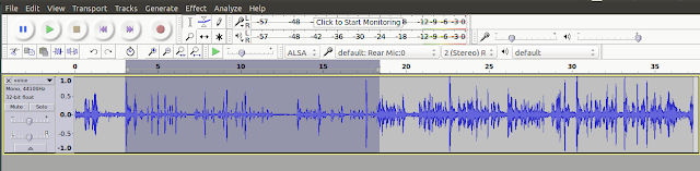 Select Audio track to noise out in Audacity