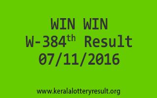 WIN WIN W 384 Lottery Results 7-11-2016