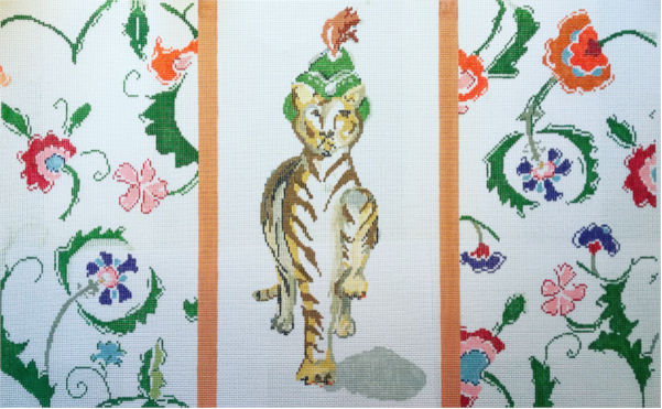 Tiger and floral border needlepoint cushion design