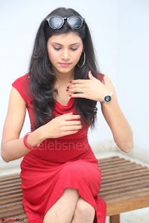 Mounika Telugu Actress in Red Sleeveless Dress Black Boots Spicy Pics 051.JPG