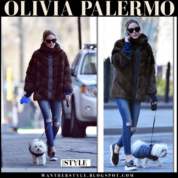 ce43f62cb13 Olivia Palermo in brown mink coat and ripped jeans walking her dog ...