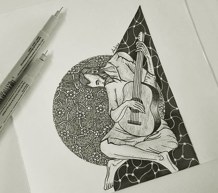 10-The-Old-Guitarist-by-Pablo-Picasso-Poonam-Saha-Zentangle-Old-Masters-and-Works-of-Art-Drawings-www-designstack-co