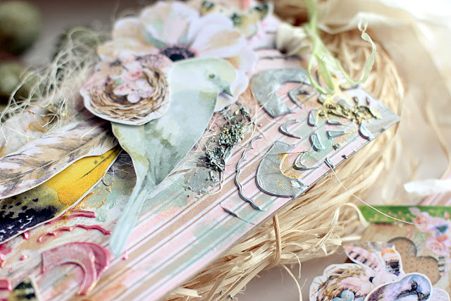 Feathers Tags by Elena Olinevich using BoBunny Serendipity Collection