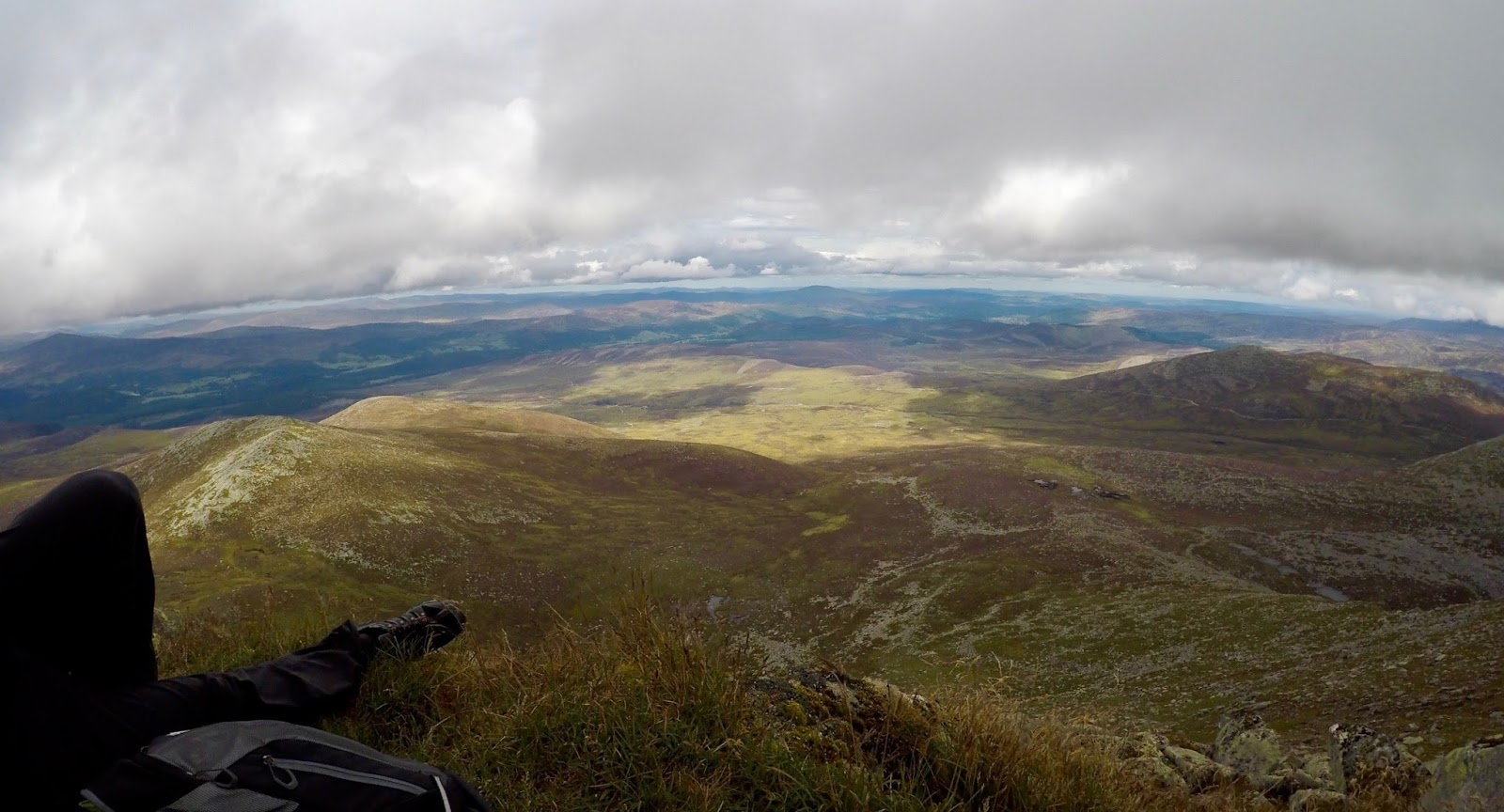 incredible view for lunch at the top of Loch at the top of Lochnagar Munro - Cal McTravel - www.calmctravels.com