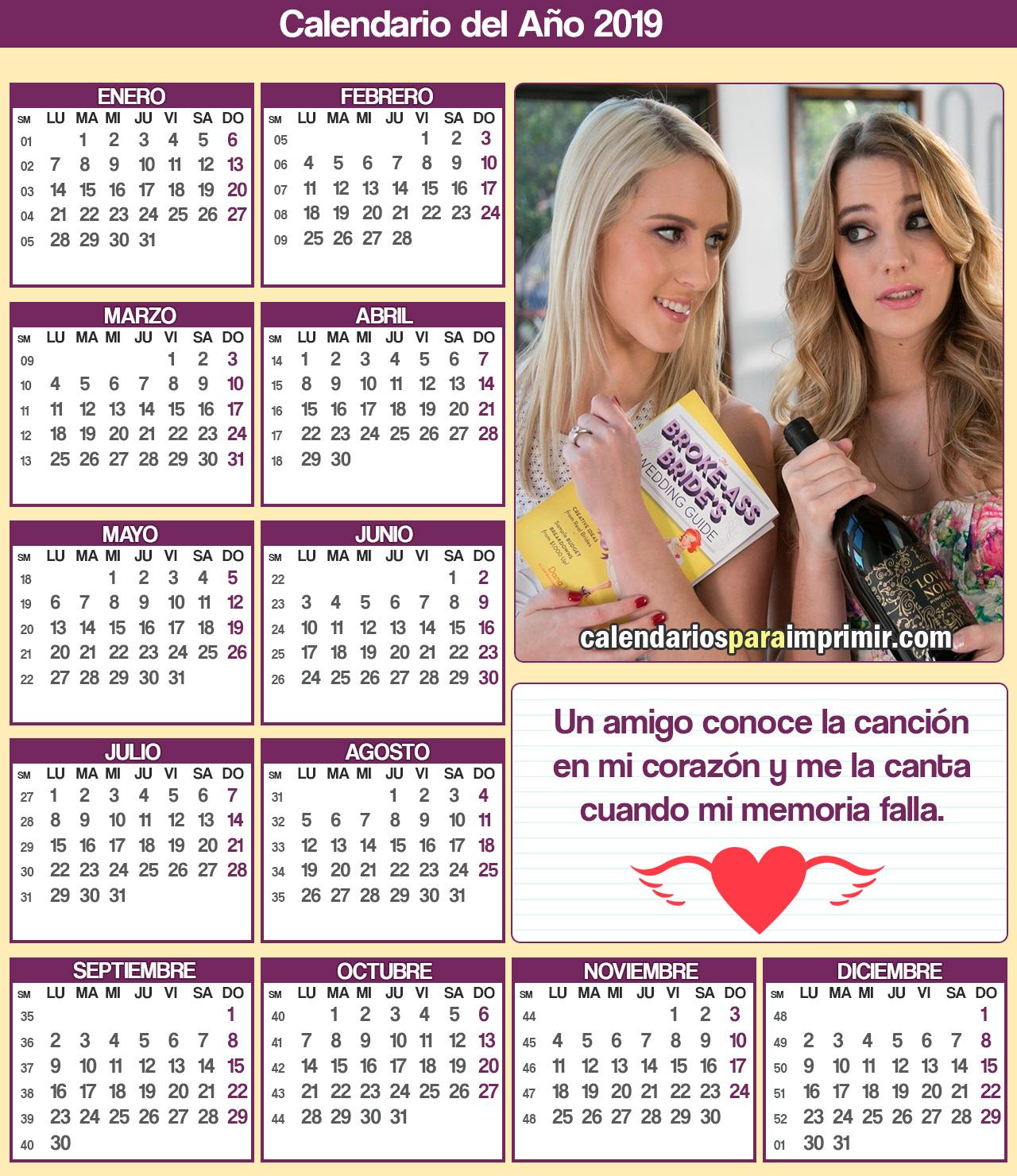 calendario para imprimir de amistad 2019