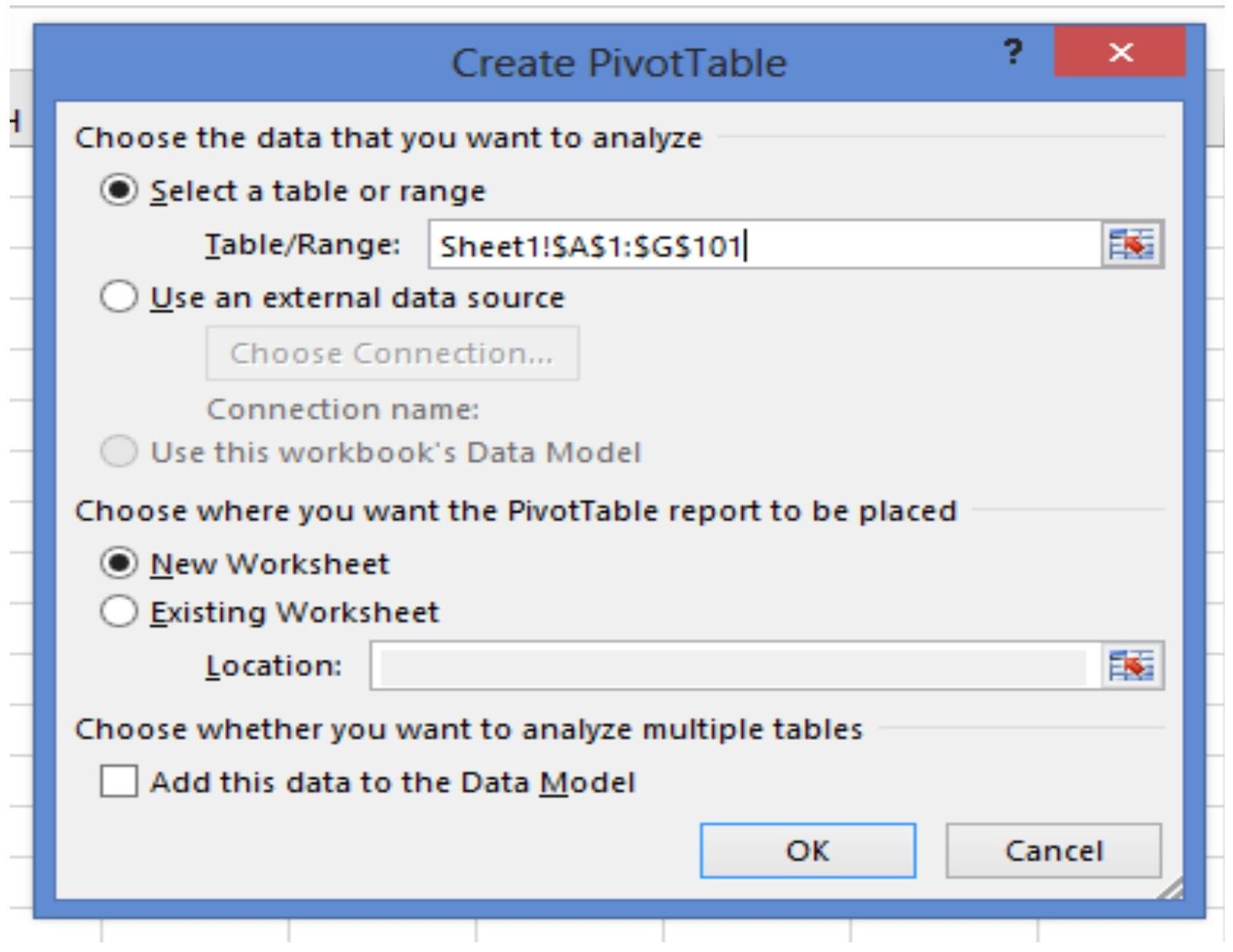 Pivot table pivot table basic the create pivot table dialog box will pop up gamestrikefo Choice Image