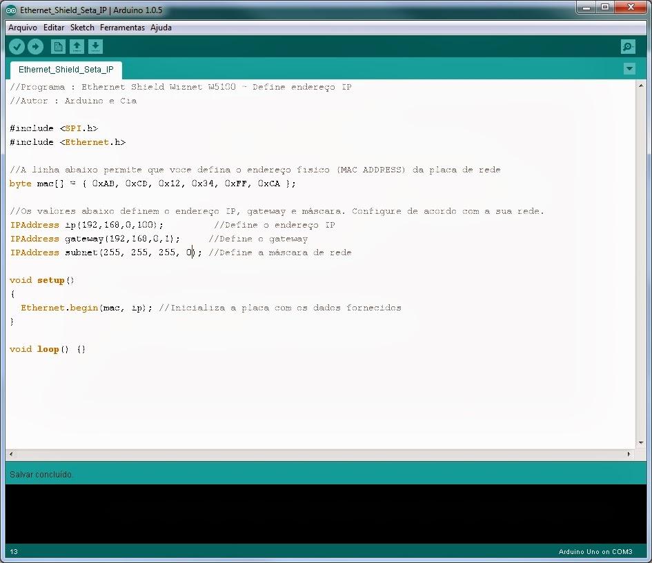 IDE - Ambiente de programação do Arduino