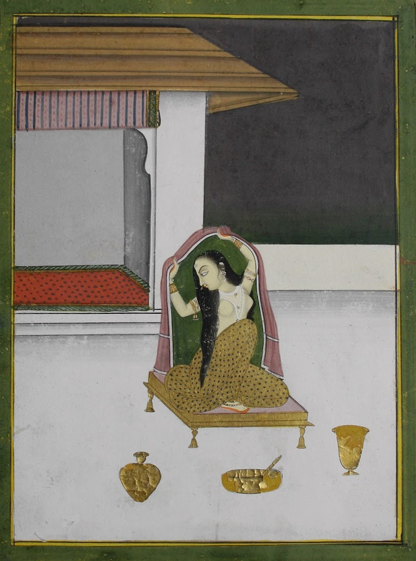 On a Palace Terrace a Courtesan Dresses Herself after Washing her Hair - Jaipur, c1830-40