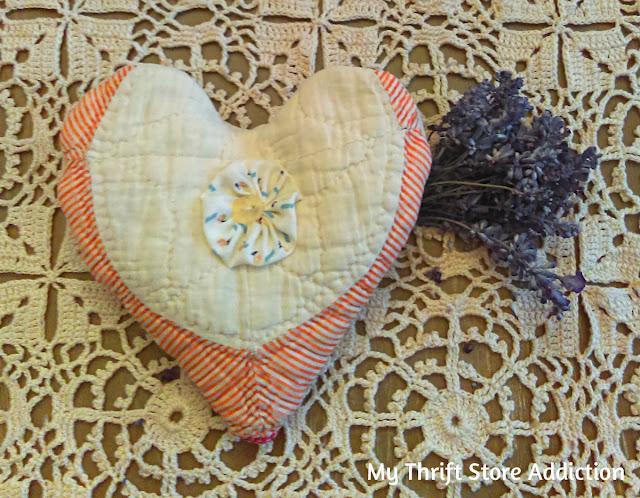 Vintage quilt heart lavender sachet